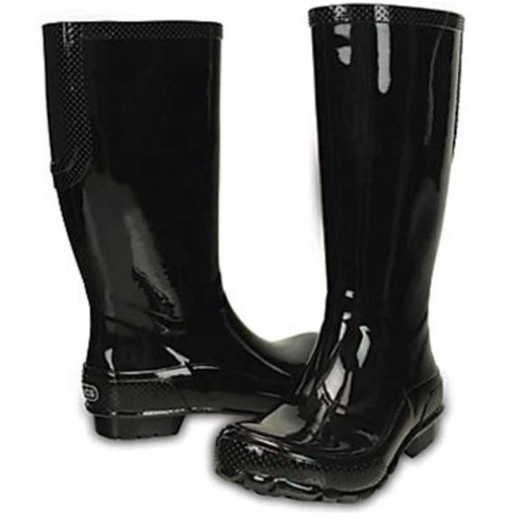 7805900d772543 CROCS Shoes - CROCS women s Black Tall Rain Boots